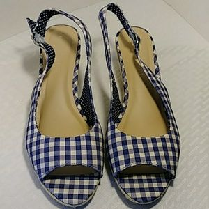 Kelly & Katie Tamy Wedge Sandals Navy Check Sz 11
